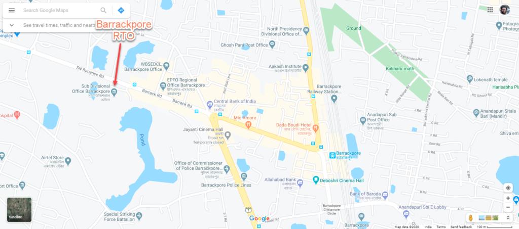 Barrackpore RTO MAP