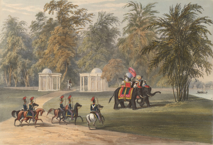 Entrance to Barrackpore. Lithograph ( coloured ).Charles D'Oyly. 1848. Courtesy: British Library