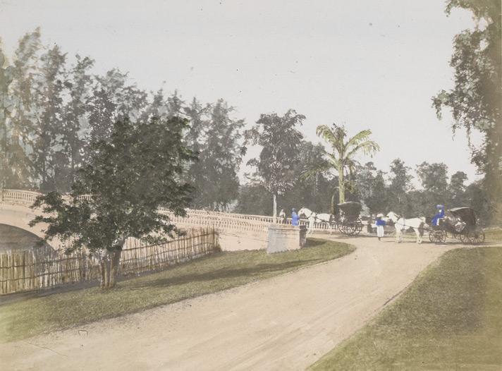 Barrackpore Bridge, hand-coloured photograph by Frederick Fiebig. 1851. Courtesy British Library