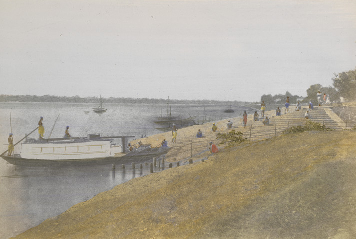 Barrackpore Ghaut, A hand-coloured photograph by Frederick Fiebig. 1851. Courtesy British Library