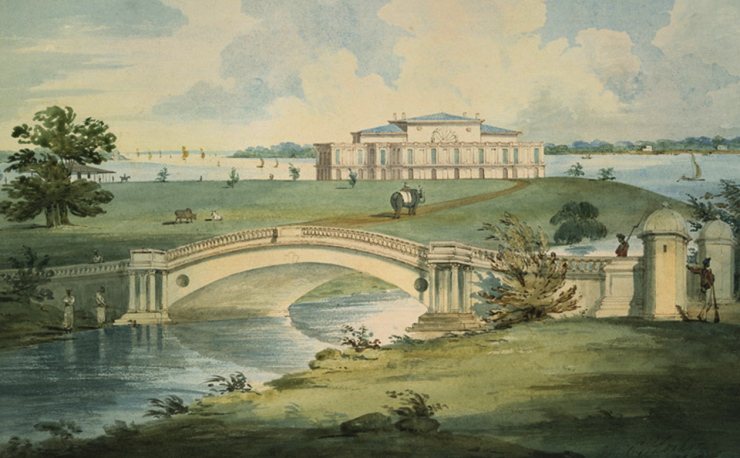 Governor General's House & Park at Barrackpore. Water colour by Edward Hawk Locker. 1808. Courtesy: British Library