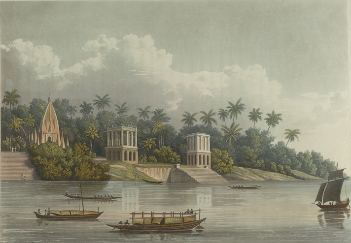 Hindoo Pagodas below Barrackpore on the Ganges. Geoge Hunt. 1824. Courtesy: British Library